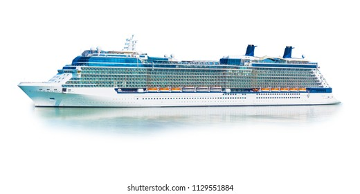 Big cruise sea or ocean ship liner ferry isolated on white background