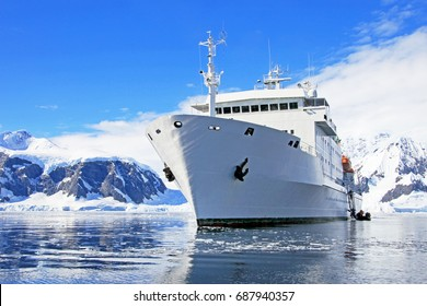 Big cruise ship in Antarctic waters, Antarctica