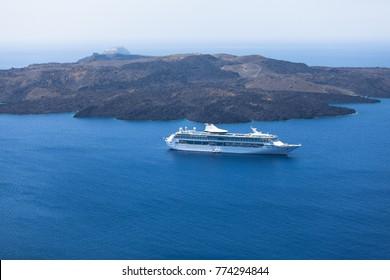 Big cruise ship in the caldera