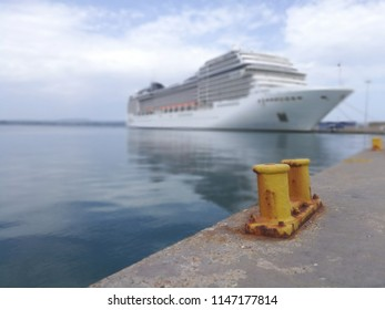 Big Cruise Ship Moored in a Greek Harbor in Katakolon