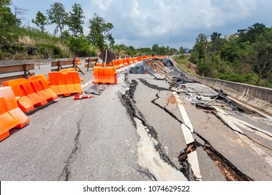 Big damage of asphalt road on the hillside cause of heavy rain and sliding earth in northern of Thailand