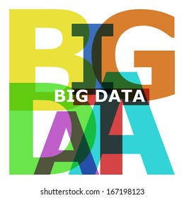 Big Data - abstract color text on white