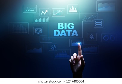 Big data analysis, business intelligence, technology solutions concept on virtual screen.
