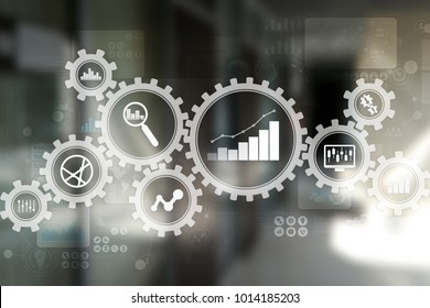 Big data analytics. BI business intelligence concept with chart and graph icons on virtual screen.