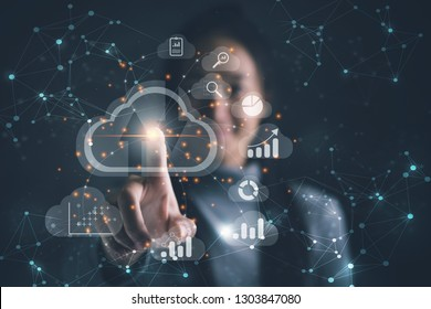 Big data analytics and business intelligence concept with chart and graph icons on a digital screen interface and a businesswoman in background