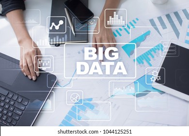 Big data analytics process management. Business and technology concept.