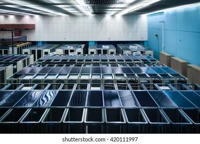 Big data center full of servers