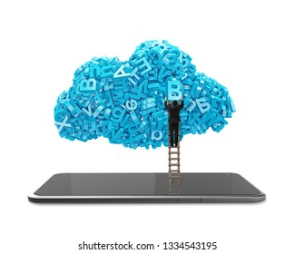 Big data and cloud computing concept. Businessman climbing wooden ladder to cloud of blue letters and numbers with digital tablet, isolated on white background.