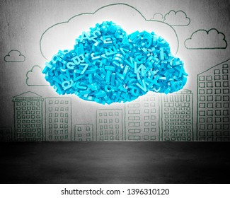 Big data and cloud computing concept. Blue letters and numbers in blue cloud shape, with cityscapes doodles of concrete wall background.