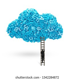 Big data and cloud computing concept.Businessman climbing wooden ladder to cloud of blue letters and numbers, isolated on white.