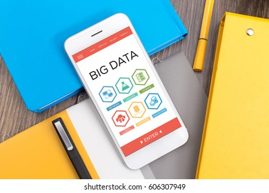 Big Data Collection Database Network Storage Word With Icons