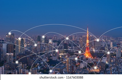 Big Data Communication, Network, Business, Wireless Signal, Online Social Media and Internet  Connection Concept over Panoramic Aerial View of Tokyo Metropolis Smart City.