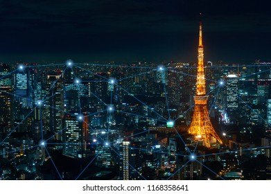 Big Data Communication, Network, Business, Wireless Signal, Online Social Media and Internet  Connection Concept over Panoramic Aerial View of Tokyo Metropolis Smart City in Blue Tone.