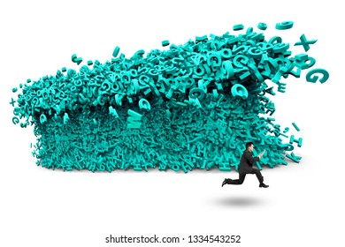 Big data concept. Businessman running away with a tsunami wave of computer data, huge amount of numbers and letters, isolated on white background.