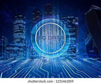Big data concept. Digital circuit line on blue night city background with motherboard connectors, technology background in center.