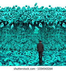 Big data concept. Rear view of businessman walking into a tsunami wave of computer data, huge amount of numbers and letters, on white background.