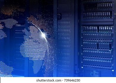 Big data concept. Servers and storage of modern data center with hologram planet earth