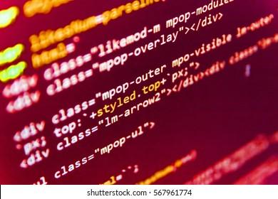 Big data database app. Server logs analysis. Computer program preview. Internet security hacker prevention. Displaying program code on computer. Programming of Internet website.