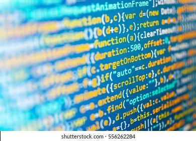 Big data database app. Software engineer at work. Database bits access stream visualisation. Hacker breaching net security. IT specialist workplace. Desktop PC monitor photo.