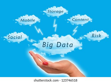 Big Data diagram with woman holding the clouds in the sky