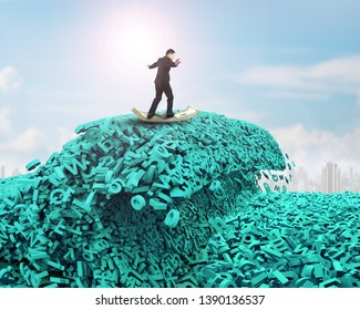 Big data driving concept. Surfing business man riding dollar bill surfboard on the tsunami wave of computer data, huge amount of numbers and letters, with sunlight sky cityscapes background.