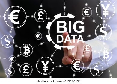 Big Data Finance concept. Financial information technology communication. Businessman touched gear big data icon on virtual screen on background of currencies. Trade exchange, money, stock market.