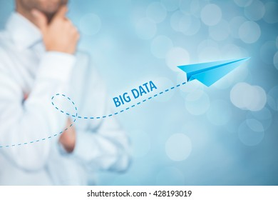 Big data growth (big-data) concept. Businessman think about accelerating data volume (big data) represented by paper plane.