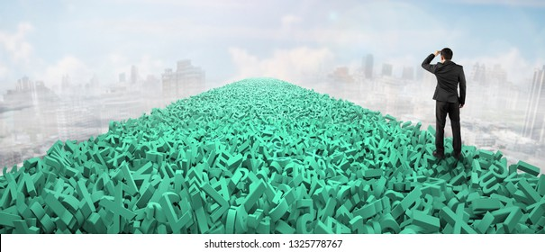 Big data highway, information analysis and restructuring concept, businessman looking for direction on road of huge amount of green letters and numbers in the air, sky clouds cityscape background.