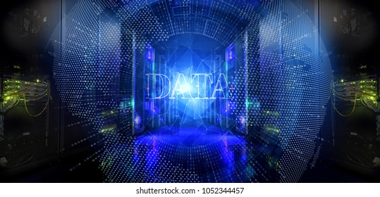 Big data and information technology concept. Digital dots Earth network penetration server room data center