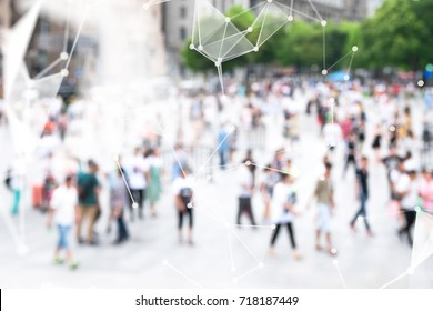 Big data , iot , artificial intelligence (ai) technology every where , smart city technology concept. Neural networks connect atoms and blur city people background. 3d Rendering.