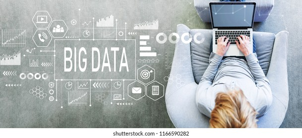 Big Data with man using a laptop in a modern gray chair
