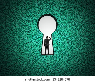 Big data privacy and security information technology concept. Rear view of businessman standing in blank white keyhole on huge amount of green letters and numbers background.