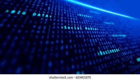 Big data and social media business, background blue with data and concepts tech