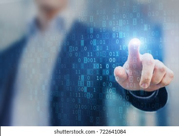 Big data statistics and business analytics concept with flow or stream of binary code information on virtual screen and analyst in background
