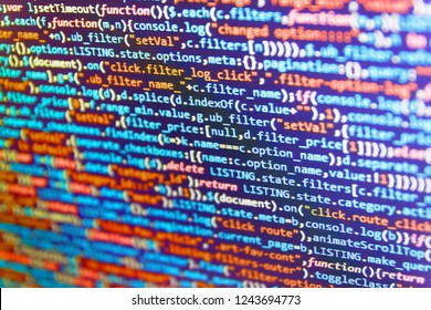 Big data storage and cloud computing representation. Matrix flat design. Art design website digital page.  Notebook closeup photo. JS website development concept.