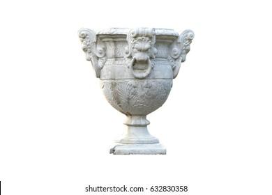 Big decorative flowerpots on isolated background