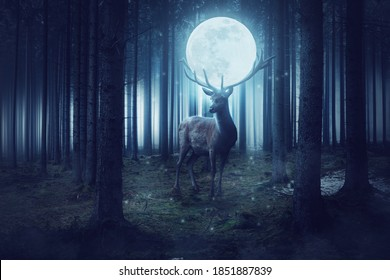Big deer with moon stands in a dark mystical forest