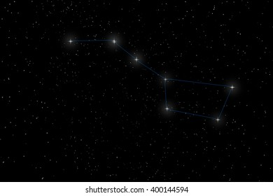Big Dipper Constellation, Ursa Major, The Great Bear with constellation lines Starry night. Beautiful night sky Beautiful Star Field