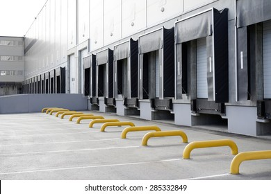 Big distribution warehouse with gates for loading goods