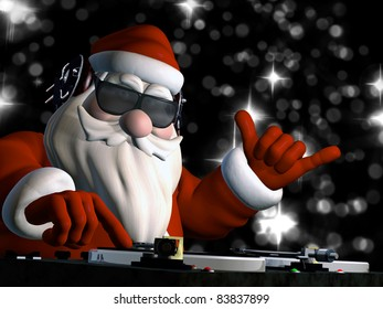 Big DJ SC is in Da House and mixing up some Christmas cheer.  Turntables with vinyl albums. And disco lights in the background.