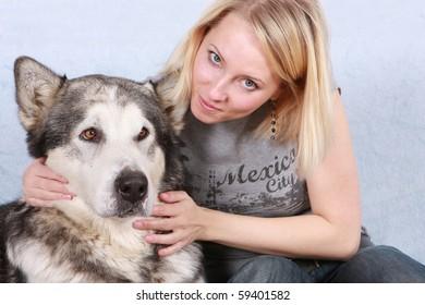 Big dog and the woman