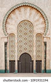 big doors with ornaments of mosque Hassan II in Casablanca in Morocco