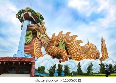 Big Dragon Statue at Dragon Descendants Museum in Suphan Buri ,Thailand.