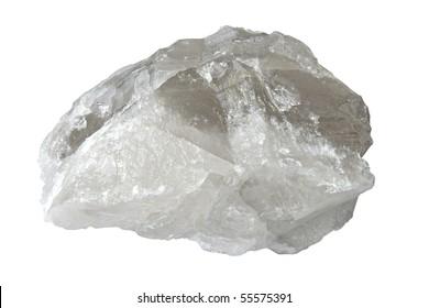 Big druse of white quartz isolated over white