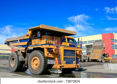 big dump truck at repair plant