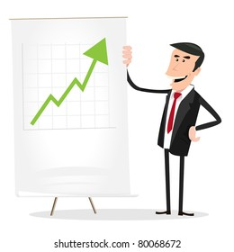 Big earnings this Month !/ Illustration of a cartoon happy businessman showing bar graph results