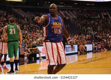 Big Easy showman for the Harlem Globetrotters at Talking Stick Resort Arena in Phoenix Arizona USA August 11 ,2018.