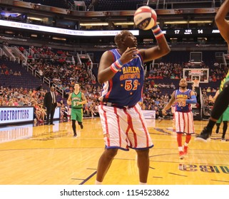 Big Easy showman for the Harlem Globetrotters at Talking Stick Resort Arena in Phoenix Arizona USA August 11,2018.