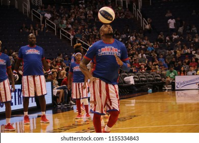 Big Easy showman for the Harlem Globetrotters at Talking Stick Resort Arena in Phoenix,Arizona USA August 11,2018.