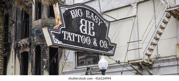 Big Easy Tatoo store in New Orleans French Quarter - NEW ORLEANS, LOUISIANA - APRIL 18, 2016